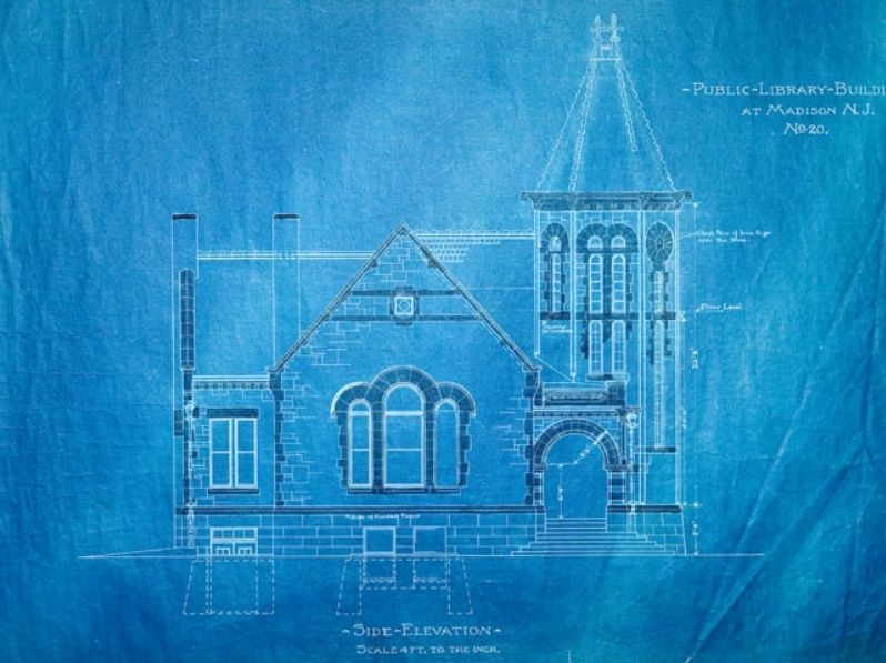 Blueprint, James Library Building, 1899